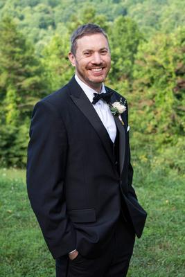 Groom portrait at Engadine Inn Wedding in Asheville
