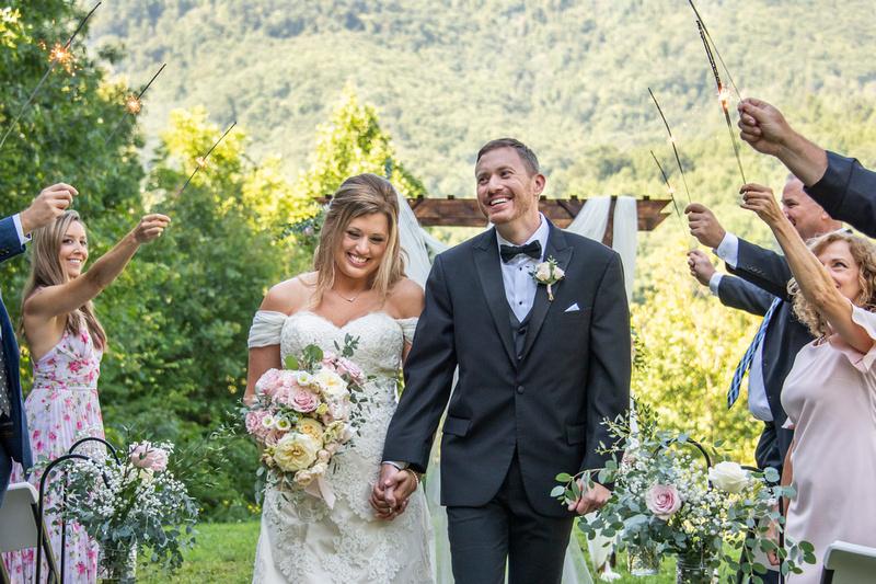 Sparkler exit at Engadine Inn Wedding in Asheville