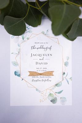 Wedding invitation at Engadine Inn Wedding in Asheville