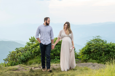 Mountain view maternity photos at Craggy Pinnacle in summer