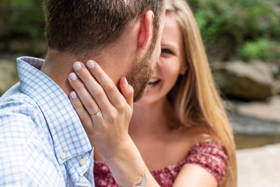 Engagement ring photo at Botanical Gardens in Asheville