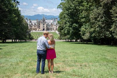 Engagement photos during midday sun at Biltmore Estate