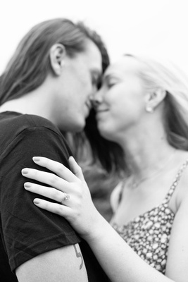 Engagement ring in focus at Craggy Pinnacle photo session