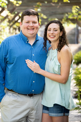 Newly engaged couple at Biltmore in walled garden in Asheville