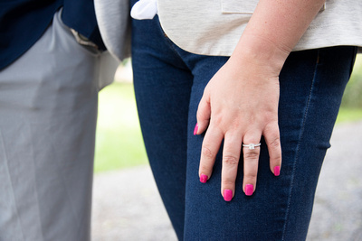 Engagement ring on woman's hand at Biltmore Estate in Asheville