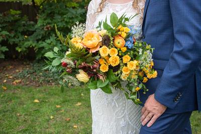 Flora Asheville bouquet at wedding at West Asheville Tiny Chapel