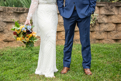Wedding attire details at West Asheville Tiny Chapel