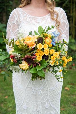 Wedding bouquet by Flora Asheville at West Asheville Tiny Chapel