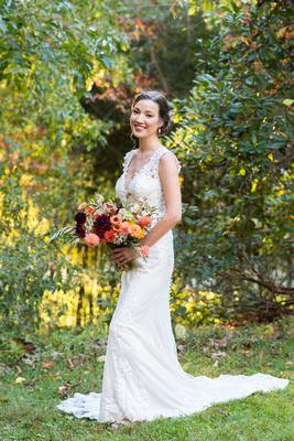 Bridal portrait during fall at Asheville wedding venue Brahma Ridge Event Center