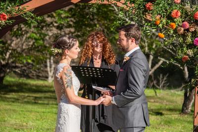 Bride and groom during ceremony at Brahma Ridge Event Center wedding