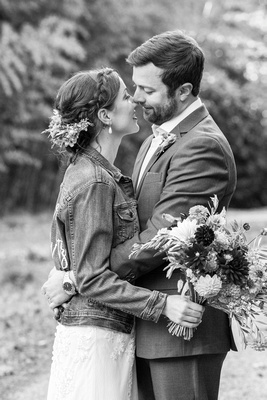 Bride and groom touch noses during wedding photos at Brahma Ridge Event Center in Asheville