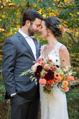Bride and groom touching noses at Brahma Ridge Event Center wedding in Asheville