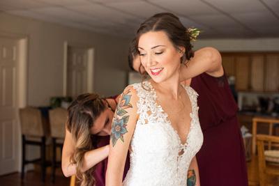 Bride getting ready in Asheville wedding