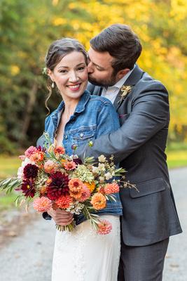 Fall wedding portrait in Asheville at Brahma Ridge Event Center