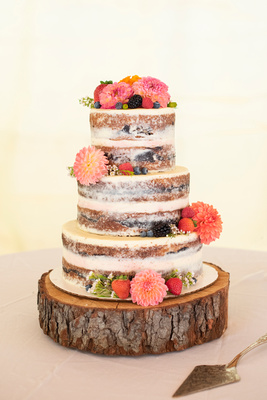 Semi naked wedding cake by Whisk in Asheville