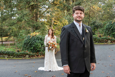 Bride and groom first look at Highland Lake Inn wedding