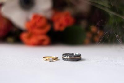 Bride and groom rings at Highland Lake Inn near Asheville