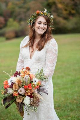 Fall bridal portrait at Highland Lake Inn in Flat Rock NC