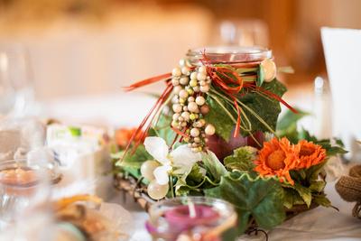 Fall reception table decor at Highland Lake Inn wedding near Asheville
