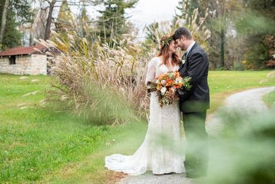 Fall wedding portrait of bride and groom at Highland Lake Inn wedding