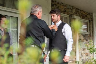 Highland Lake Inn wedding groom getting ready with father