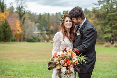 Highland Lake Inn wedding photo with bride looking at camera