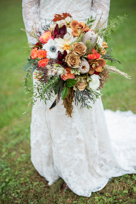 Wedding bouquet with fall colors by Flowers by Larry at Highland Lake Inn wedding