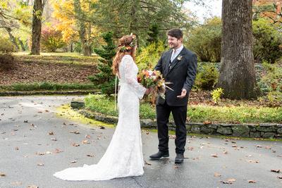 Wedding first look at Highland Lake Inn wedding in Flat Rock NC