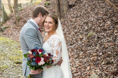 Bride and groom photo at Hawkesdene wedding near Asheville