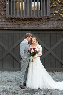 Bride and groom wedding portrait at Hawkesdene in Andrews NC