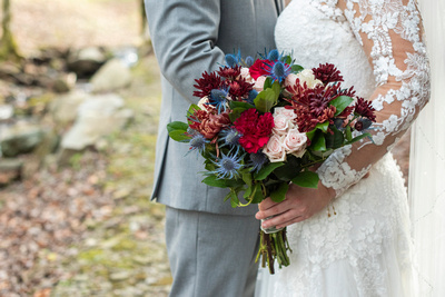 Fall wedding bouquet with red, pink, blue, and green Hawkesdene wedding near Asheville