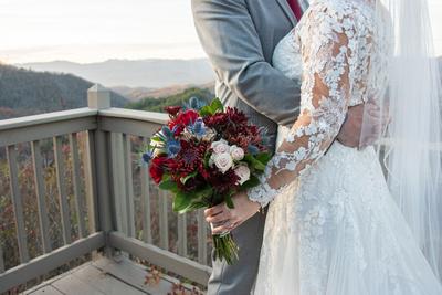 Mountain top wedding bouquet photo at Hawkesdene wedding near Asheville