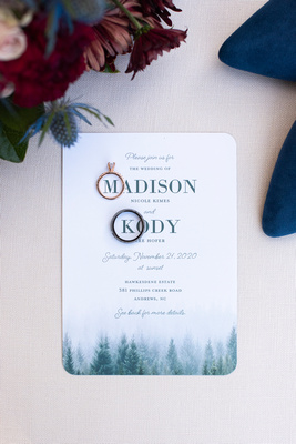 Shutterly invitation for mountain wedding at Hawkesdene in Andrews NC