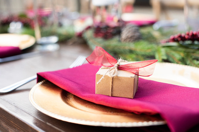 Winter wedding favor idea at Hawkesdene wedding near Asheville