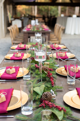 Winter wedding table decor at Hawkesdene wedding near Asheville