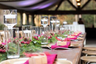 Winter wedding table scape at Hawkesdene wedding near Asheville