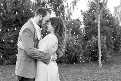 Asheville engagement photography at Biltmore Estate in front of Christmas tree
