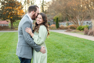 Couple in walled garden at Biltmore Estate during engagement photos
