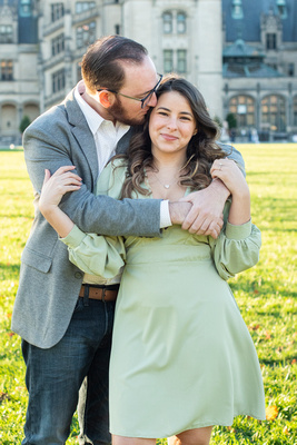 Engagement portrait of couple at Biltmore Estate in Asheville