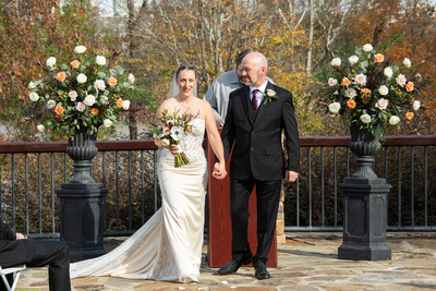 Bride and groom after wedding ceremony at Stone River in Columbia SC