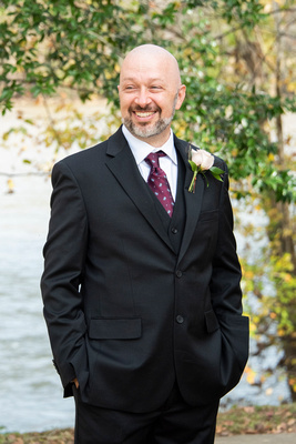 Groom photo at Stone River in Columbia SC