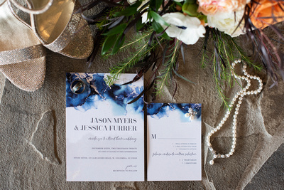 Wedding details flat lay at Stone River in Columbia SC