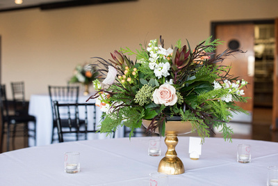 Wedding flower centerpiece at Stone River in Columbia SC by American Floral