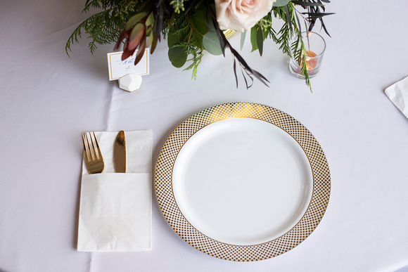 Wedding place setting at Stone River in Columbia SC