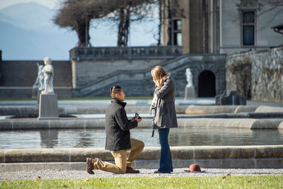 Engagement proposal photo in the Italian Garden at Bitmore Estate in Asheville