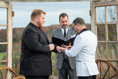 ring exchange during lgbtq wedding ceremony near Asheville, NC