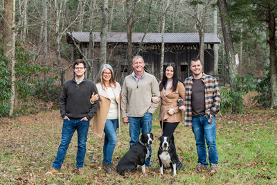 Adult family portrait with dogs in Black Mountain NC