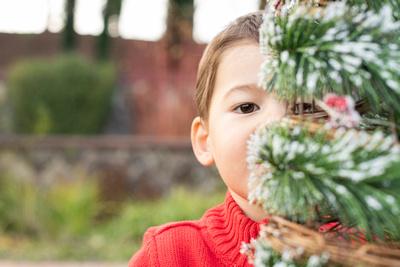 Boy peeking around Christmas tree at Biltmore Estate in Asheville NC