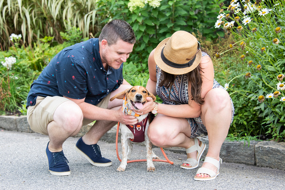 Engaged couple petting dog at Biltmore Estate in Asheville NC