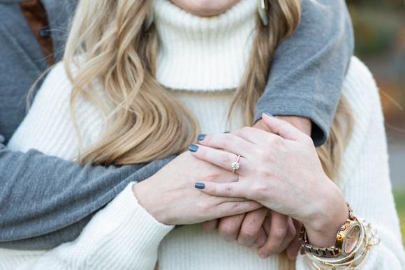 Engagement ring at Biltmore Estate proposal in fall
